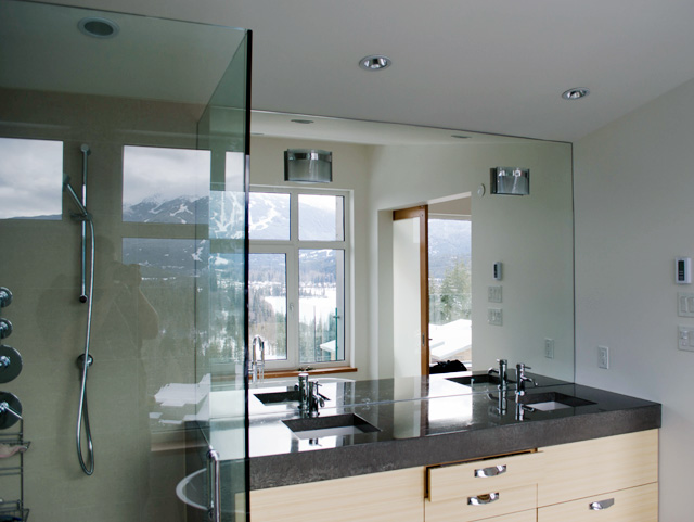 Interior works creative storage and specialty glass for Height of bathroom mirror