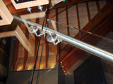 Frameless interior railing glass with aluminium handrail